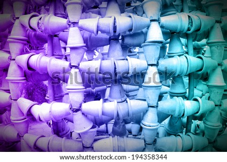 Colorful of jardiniere baked clay, abstract background.