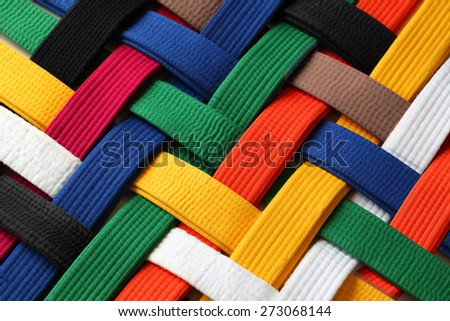 Colorful of martial arts belts rank system background - stock photo