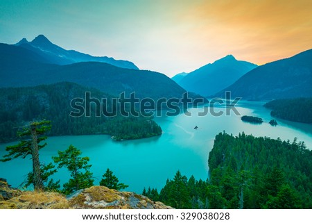 colorful of north cascade,scene over Diablo lake when sunset  in North Cascade national park,Wa,Usa  - stock photo