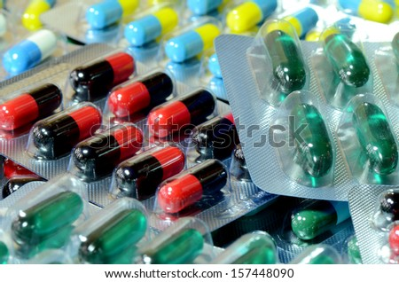 Colorful of oral medications in transparent strips. - stock photo