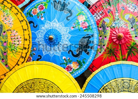 Colorful of Paper Parasols,Paper Umbrella Backgrounds & Textures - stock photo