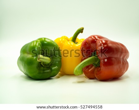 Colorful of paprika on white background, sweet pepper, bell pepper