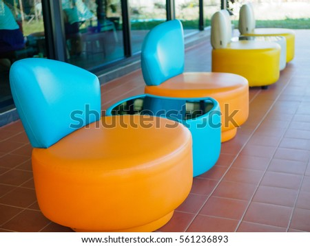 Colorful Of Patio Furniture Set, Orange, Blue And Yellow