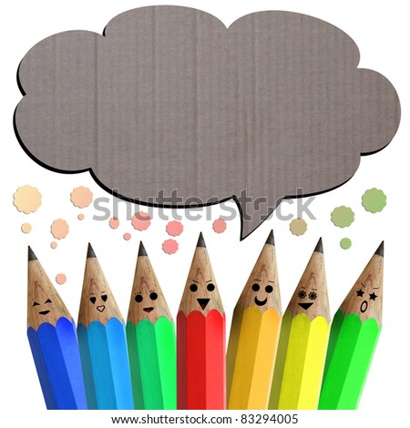 colorful of pencil  smileys holding with social network sign - stock photo