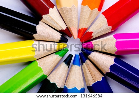 Colorful of pencils in concept all for one ,team work concept - stock photo