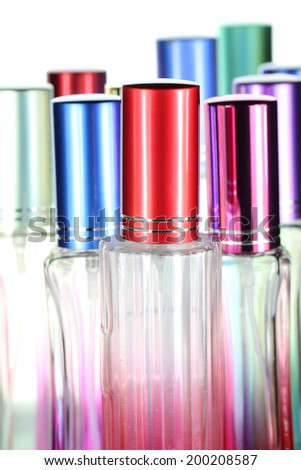 Colorful of perfume bottles for beauty background.