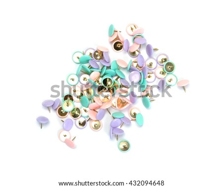 Colorful of pin on white background. - stock photo