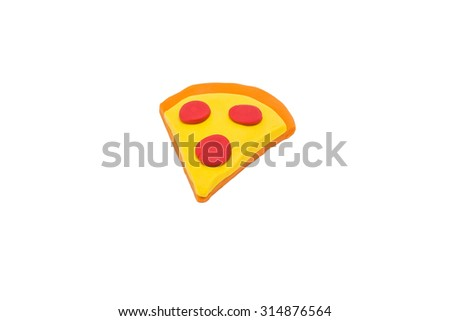 Colorful of pizza piece plasticine on isolated white background - stock photo