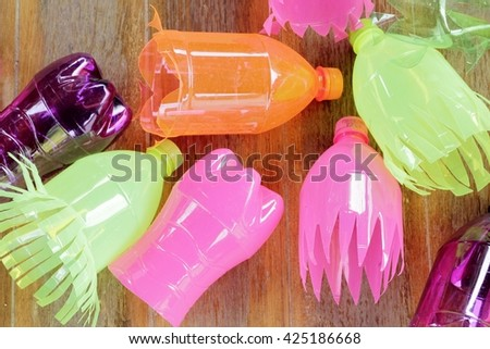 Colorful of plastic bottle reuse - stock photo