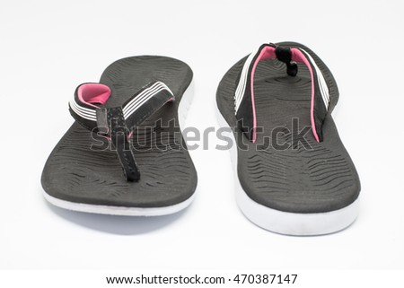 Colorful of Sandals shoes woman / Black and Pink on white background.