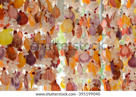 colorful of seashell mobile for home decorate - stock photo