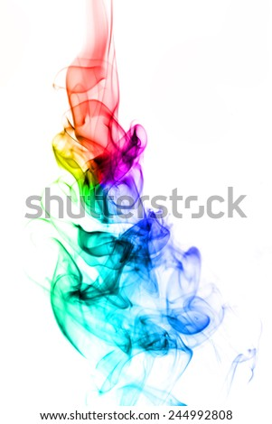 Colorful of smoke on white background. - stock photo