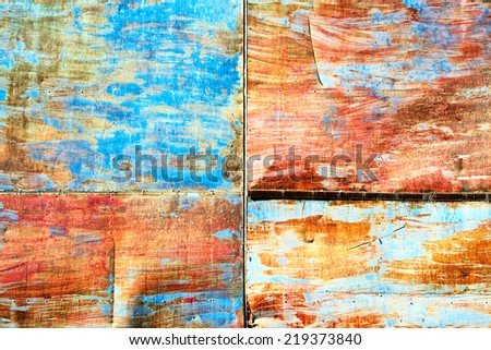 Colorful of steel metal plate with rusty / Steel metal plate with rusty - stock photo