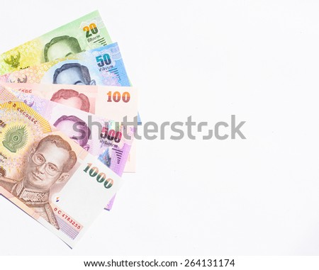 Colorful of Thai currency,banknotes in a hand with white background looking forward to business and investing in Thailand - stock photo