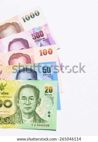 Colorful of Thai currency,banknotes with white background - stock photo