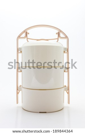 Colorful of tiffin box on white background. - stock photo