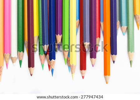 Colorful of wooden color pencils isolated on white background - stock photo