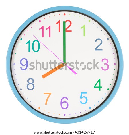 Colorful office clock showing eight o'clock isolated on white background