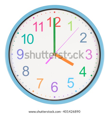 Colorful office clock showing four o'clock isolated on white background