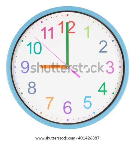 Colorful office clock showing nine o'clock isolated on white background