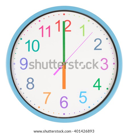Colorful office clock showing six o'clock isolated on white background