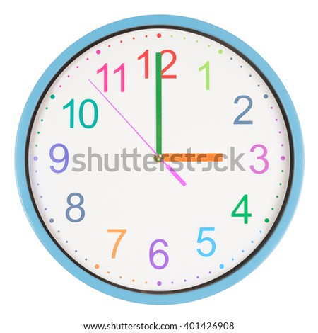 Colorful office clock showing three o'clock isolated on white background