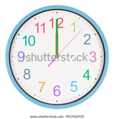 Colorful office clock showing twelve o'clock isolated on white background - stock photo