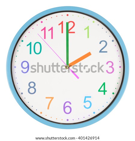 Colorful office clock showing two o'clock isolated on white background