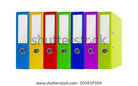 Colorful office folders isolated on white background - stock photo