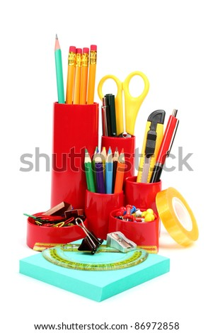 Colorful office school supplies isolated on white background