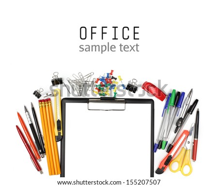 Colorful office supplies and empty clipboard isolated on white background