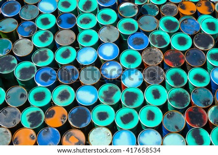 Colorful oil barrels or chemical steel drums - stock photo