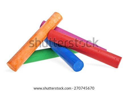 Colorful oil crayons on a white background