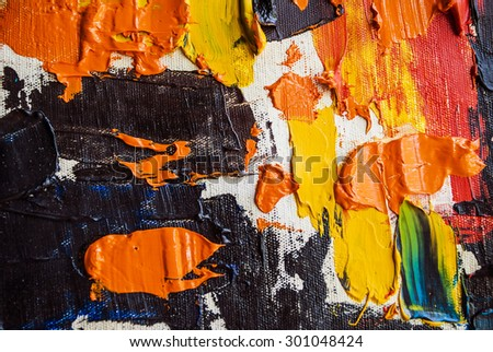 colorful oil paint on a palette - stock photo