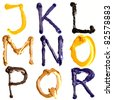 Colorful oil painted alphabet, Letters J - R - stock photo