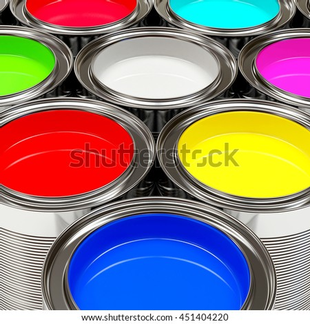 Colorful oil paints in open banks. 3D illustration  Banks of multicolored paint 3D rendering  red green paint in the bank to repair and brush  - stock photo