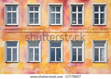 colorful old apartment front