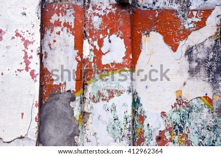 colorful old house wall background, India - stock photo