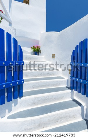 Colorful Old Staircase And Traditional Architecture On Island of Santorini in Fira, Greece.