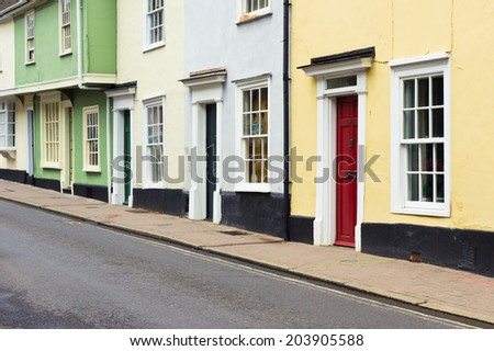 Colorful old town houses in Bury St Edmunds, England - stock photo
