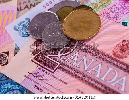 Colorful Old World Paper Money background with animals - stock photo