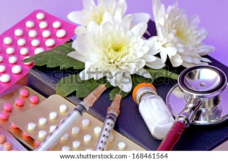 Colorful oral contraceptive pill, Contraception Methods and Women's Health. - stock photo