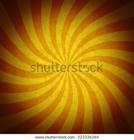 Colorful orange rays grunge vintage background. Vivid retro background with striped swirl, grunge texture and vignette. Useful as a Halloween background. - stock photo