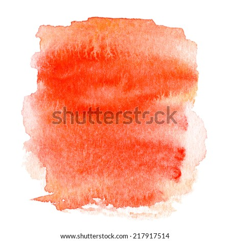 Colorful orange wet  spot, watercolor abstract hand painted textured background isolated on white. Water color like cloud on old paper texture background - stock photo