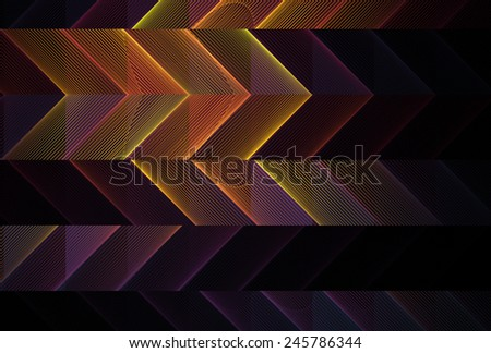 Colorful orange, yellow and purple abstract arrow / zig-zag design on black background - stock photo