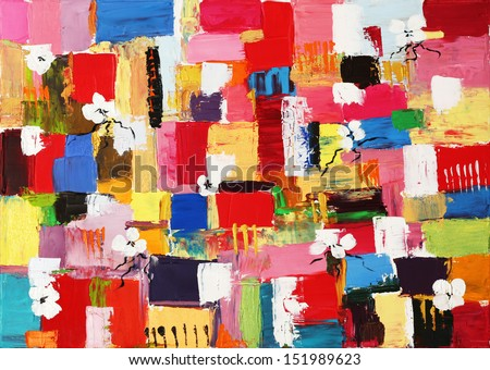 Colorful original oil painting of abstract shapes and square patterns