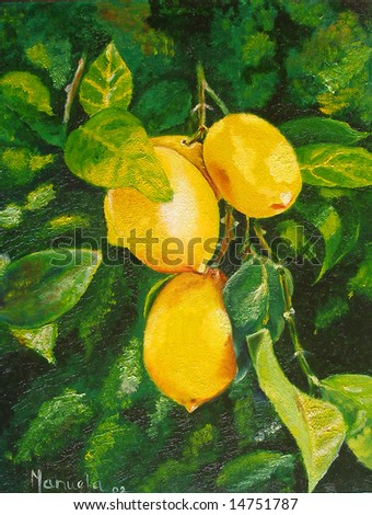 Colorful original oil painting showing lemons hanging on the tree