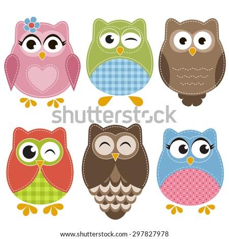 Colorful owls set. Raster version - stock photo