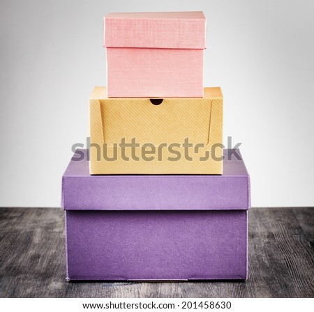 Colorful package box on a table.