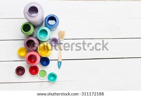 Colorful paint bottles - stock photo
